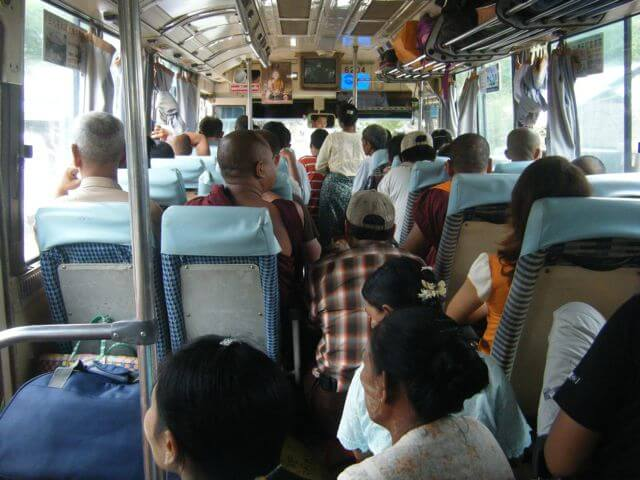 Regular bus usually cramed with people