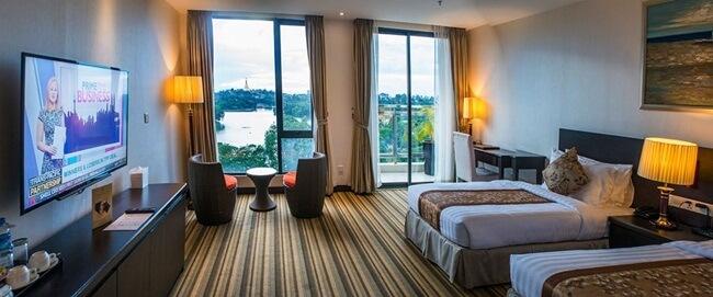 Esperado hotel's room view over the city of Yangon