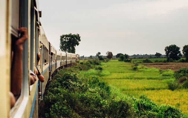 Beautiful landscape outside the train window